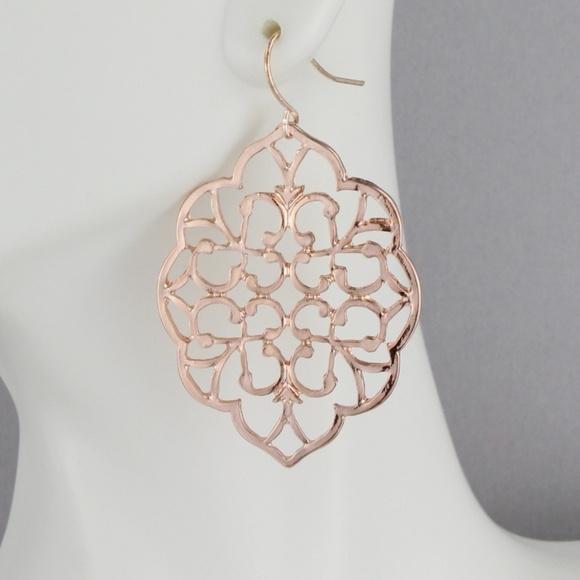 Jewelry Rose Gold Earrings Dangle Cut Out Filigree Scroll Poshmark